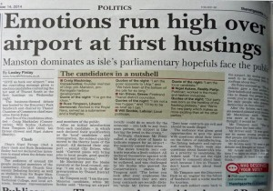 hustings report in Gazette