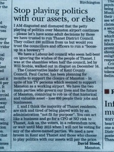 David Steeds letter to Gazette