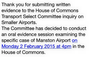 Transport Select Committee to hear oral evidence on future of Manston airport.